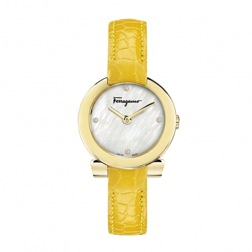 GANCINO STAINLESS YELLOW LEATHER LADIES WATCH FAP040016, 30MM