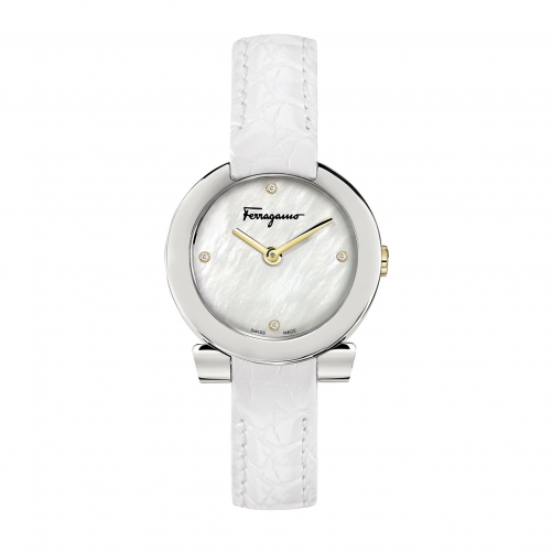 GANCINO STAINLESS WHITE LEATHER LADIES WATCH FAP010016, 30MM