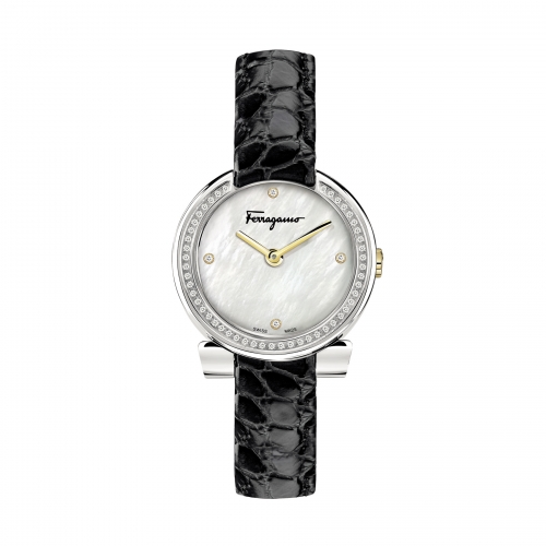 GANCINO STAINLESS BLACK LEATHER LADIES WATCH FAP030016, 30MM