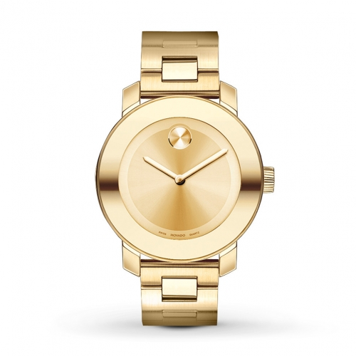 MOVADO BOLD CHAMPAGNE DIAL YELLOW GOLD STAINLESS STEEL WATCH 3600085, 36MM