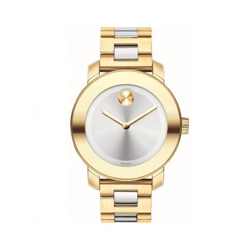 MOVADO BOLD SILVER DIAL GOLD IP STAINLESS STEEL LADIES WATCH 3600129, 36MM