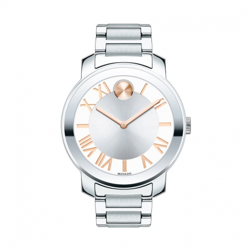 MOVADO BOLD SILVER DIAL STAINLESS STEEL UNISEX WATCH 3600196, 39MM