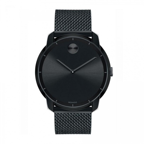 Movado Bold Black Ion-Plated Stainless Steel Mesh Bracelet Watch 3600261, 44mm