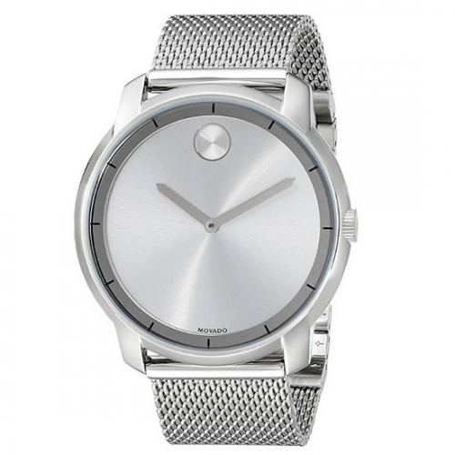 Movado Bold Silver Dial Stainless Steel Mesh , 44mm