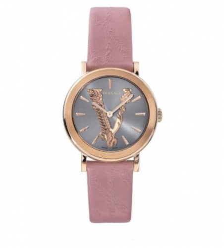 VERSACE VIRTUS PINK LEATHER STRAP WATCH 36MM