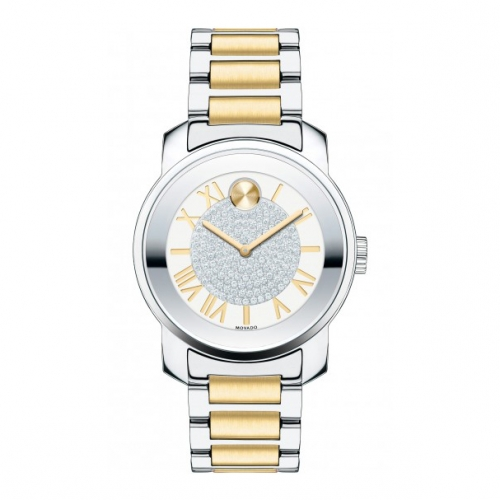 MOVADO BOLD TWO-TONE STAINLESS STEEL BRACELET LADIES WATCH 3600256, 32MM