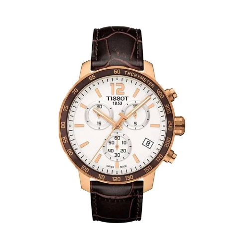 TISSOT QUICKSTER CHRONOGRAPH WHITE DIAL BROWN LEATHER MEN'S WATCH  42MM