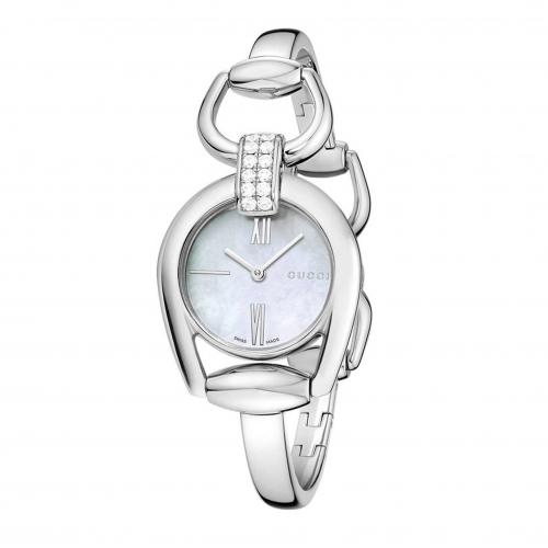 Gucci Horsebit Collection Analog Display Swiss Quartz Silver Watch, YA139503 28mm