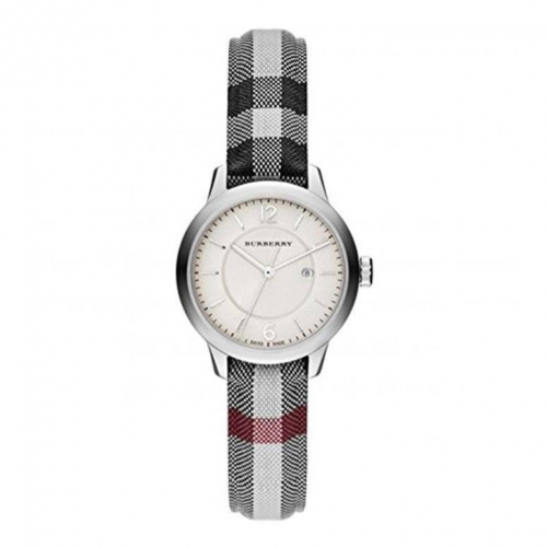 BURBERRY The Classic Round Stone Check Fabric Strap Watch, 32mm