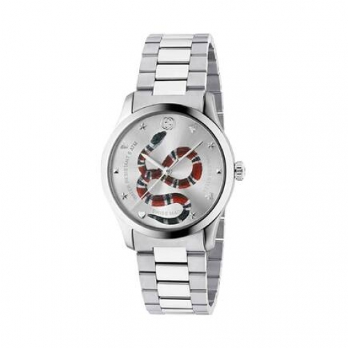 GUCCIG-Timeless Silver Dial with Snake Motif Stainless Steel Watc