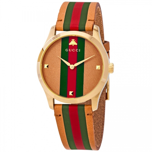 Gucci G-Timeless Brown Dial with Stripe Motif Striped Leather Watch YA1264077,38mm