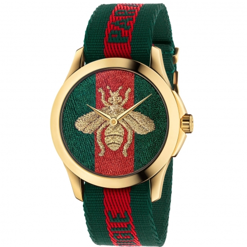 Le Marché des Merveilles Green and Red Web Ladies Watch,YA126487 38mm