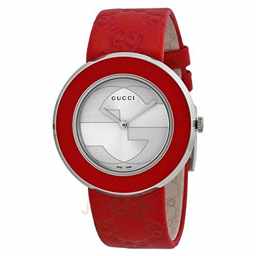 GUCCI U-Play Silver Dial Red Leather Ladies Watch, YA129421, 35mm