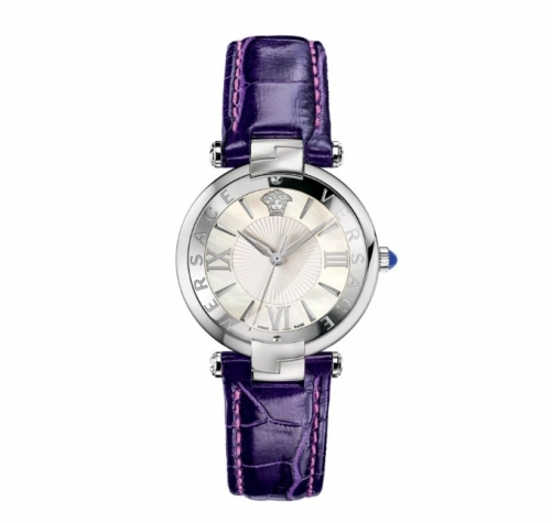 REVIVE WHITE MOP DIAL VIOLET LEATHER WATCH 35MM