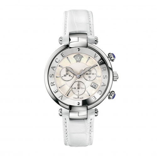 REVIVE CHRONO MOP DIAL WHITE LEATHER LADIES WATCH VAJ020016, 41MM